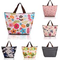 Wholesale Flower Oxford Picnic Thermal Bag Neoprene Lunch Bag Food Cooler Bags Thermal Women Handbag Women Messenger Bags