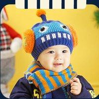 Wholesale Baby Thicken Warm Cap Robot Cartoon Cap Kids Hat Scarf Sets eanie Girls Boys Warmer