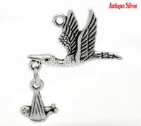 Cheap 20PCs Antique Silver Flying Stork W Dangling Baby in Bundle Charm Pendants 30x24mm (B20967), yiwu
