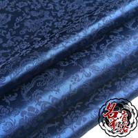 brocade fabric - Dragon jacquard silk satin fabric antique clothing COS costume super soft clothes and dark blue brocade fabric