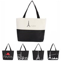 beach tote bag pattern - 2015Large Space Women Canvas Handbag Zipper Shopping Shoulder Bag Paris Eiffel Tower Pattern Girls Beach Bookbag Casual Tote Fashion