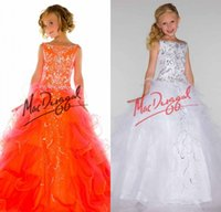 Cheap New Arrival 2015 Little Girls Pageant Dress Bateau Ball Gown Beads Crystal Floor Length Flower Girls Dress For Party Prom Free Shipping