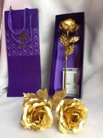 24k gold rose - Hot K Gold Plated Rose for Christmas Valentine s Birthday Gift Gold Dipped Rose artificial flower by DHL