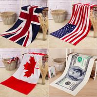 beah towels - 2015 color CM USA UK flag EUROS Unisex cotton stripe printed beah towels bathing towel Shower Gym Fitness Camping Towel TOPB3562 p