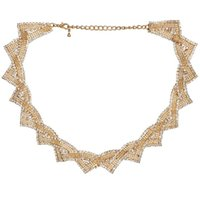 Wholesale Women Necklace Triangle Short Choker Necklace Short Twist Rhinestone Crystal Necklace for Girl