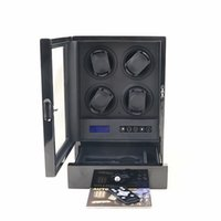 Wholesale Deluxe wooden motors multiple layers of high gloss piano lacquer finnish watch winder LED spotlights Touch Screen wireless remote control