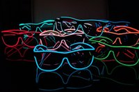 Wholesale El Wire Glow Sun Glasses Led DJ Bright Light Safety Light Up Multicolor Frame colors selected