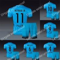 Wholesale Season spanish liga club third blue soccer uniforms football kits include jersey and shorts messi neymar jr xavi any name