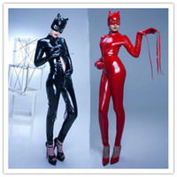 red zentai catsuit - Women Black Red Sexy Long Sleeve Faux Leather Latex Catsuit Clubwear Sexy Lingerie With Zipper to Crotch Sex Fetish Bondage Harness Costumes