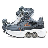 roller skate shoes - Children Heelys Roller Skate Shoes Kids Fashion Sneakers with Rubber Insole Double Row Wheels Inline EU size