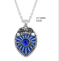 antique police - zinc alloy mental antique silver plated blue enamel badge charm letter police necklace a