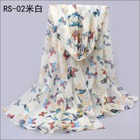 Wholesale Christmas present gift1PC cm New butterfly printed long lady chiffon silk scarf WJ