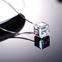 beauty squares - 2015 Necklaces For Women Beauty Silver Chains Pendant Necklaces Silver Necklaces Crystal MM MM square Lovers Gift Small Gifts