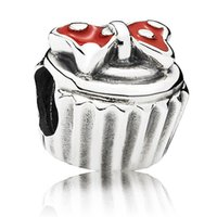 cupcake charm - 925 Sterling Silver Minnie Cupcake Charm Bead with Red Enamel Fits European Pandora Jewelry Bracelets Necklaces