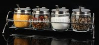 Wholesale Delicate kitchen Lead free glass caster Condiment jar of sauce ingredients boxed set with small spoon
