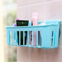 bamboo wall shelf - Wall Sucker Edge Plastic Organizer Net Box Kitchen Sink Bathroom Shelf Storage Hanging Towel Holder