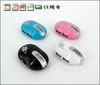 Wholesale Cute Mini Port USB HUB With Retrackable Cable mouse shape