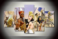 ancient egypt pictures - 5 Panel Framed Printed Ancient Egypt Group Painting children s room decor print poster picture canvas poster movie painting