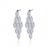 Wholesale Elegant Long Earrings For Wedding Party Top Quality AAA Clear Swiss Cubic Zirconia Diamond Chandelier Earrings CER0008 B