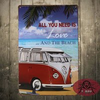 beach wall paintings - All you need is love and the beach painting Tin Sign Bar pub Garage home Wall Decor Retro Metal Art Poster