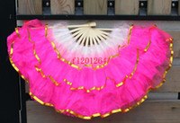 Wholesale 150pcs Red Pink color Chinese silk dance fan KungFu fan layer Golden edge