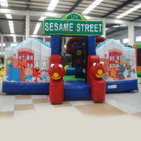 backyard equipment - AOQI amusement park equipment cheap price outdoor Sesame Street giant inflatable jumping castle for kids for sale made in China