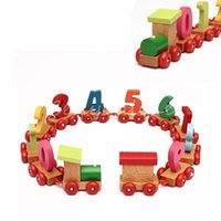 Wholesale 0 Number Colorful Digital Cute Educational Baby Toddlers Children Wooden Puzzle Small Train Vehicle Blocks Birthday Gift Toy
