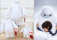Wholesale 2015 Big Hero Baymax Supper Hero Bjd Children Toys inch cartoon toys Two Size White Girl And Boy Bithday Gift Stuffed Toy Plush Toy