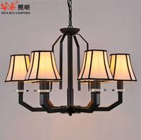 Lámpara de araña de arte de hierro forjado lustre lámparas lámpara de tela lámpara colgante antigua de la luz de la vendimia colgante para la iluminación de la casa de cena