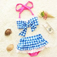 baby swimwear - can choose size korean baby girl grid lace bow bikini kids swimwear baby swimsuit princess two pieces swimwear with hat