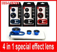 Wholesale 4in1 special effect lens X zoom lens macro lens Fisheye lens wide angle lens for Smart Phone General Universal