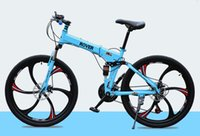 folding bikes - 26 inch speed mountain bike one wheel disc brakes damping folding men and women cycling road car