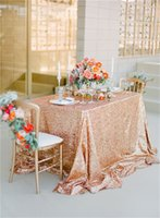 table covers - Sparkly Rose Gold Sequin Table cloth quot quot cm cm for Wedding Shinny Party Decoration Table Cover