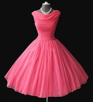 Cheap Real Sample 1950's Vintage Bateau Neckline Tea-length Puffy Ball Gown Water Melon Chiffon Short Prom Dresses Evening Gowns