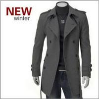 Wholesale autumn winter Men s Clothing men Korean coat fashion badges Long Trench Coat double breasted Outerwear