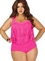 Tankinis Set Nylon Tassel big women swimming suit plus size swimwear summer plus size tassels bikinis high waist sexy bikini swimwear big women swimsuit