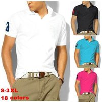 polo shirts - 2015 Big horse polo men solid polo shirt Casual short sleeve Shirts plus size high quality AAA