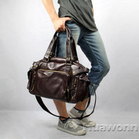 leather duffle bag - Men s Fashion PU Leather Gym Duffle Satchel Shoulder Travel Bag Handbag