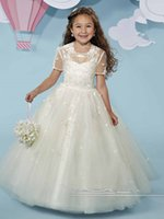 best free charts - Best Selling Tulle Party Gowns Appliques Floor Length Jewel Custom Beaded Made Beautiful Flower Girl Dresses Short Sleeve