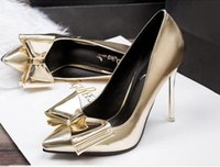 beautiful brides dresses - Beautiful Silver Gold Pointed toes women pumps Bowtie stiletto high heeled dress shoes Bride wedding shoes lady wedding shoes Factory pric