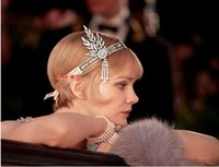Wholesale The Great Gatsby Headband HairBand For Women Rhinestone Pearl Crown Wedding Engagement Headbands Hairbands Hair Jewelry High Quality Hot Sal