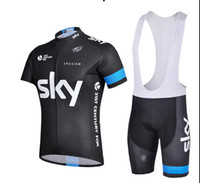 Wholesale 2014 team sky cycling jersey short sleeve bib shorts Set sky cycling wear summer cycling clothing hot weather bike jersey