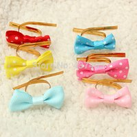 Wholesale 20PCS Metallic Polka Dot Twist Wire Tie With Bow Candy Cookie Cake Party