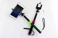 Wholesale 1 M Self timer Monopod Extendable Self Timer Handheld With Cable Take Pole For Iphone plus s Samsung s5 Note free DHL shipping