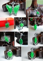 green jade - Hot Sell Tibet Silver Green Jade Malay jade pendant Necklace Crystal Pendants Silver necklaces Bridal Girl Boy Jewelry women pendants