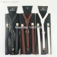 active braces - colors New Styles Fashion Women Men CM Skinny PU Leather Suspenders Leather Braces Adjustable