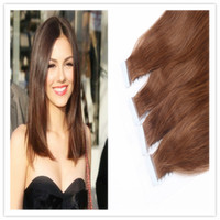 Wholesale High Quality quot quot quot quot quot quot quot Brazilian Remy Tape In Hair Extensions PU Tape Glue thick Skin Weft Human Natural Hair pk
