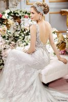 Discount jeweled bodice wedding - backless mermaid wedding dresses 2016 val stefanie bridal gowns crystal beaded fit flare jeweled sweetheart neckline wedding gowns