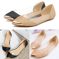 Wholesale Hot Sales Women Lady Glitter Sparkle Loafers Transparent Low Heel Pointed Toe Flat Shoes Sandals Ex73