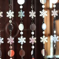 background snowflakes - Christmas decoration snowflake sparkling sequins laser curtain stage background festival party party decoration